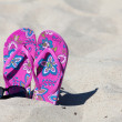 A pair pink colored Flip-Flops in the sand with a black sunglasses — Stock Photo