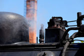Detail detailed photo of a historic steam locomotive in Baltic Sea resort Kuehlungsborn — Stock Photo