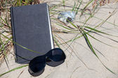 A dark sunglasses lies in front of a book on a dune — Stock Photo