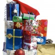Many colorful Christmas packages — Stock Photo