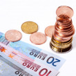 Stock Photo: Euro coins and bills