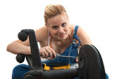 Home repairs - chair repair screwdriving — Stock Photo