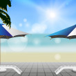 Stock Vector: Beach chaise lounges. vector