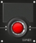 Dark background with a red button and speaker — Stock Vector