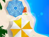 Birkaç şemsiye plajda, grafik sanatı — Stok Vektör