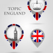 Topic England Map Marker — Stock Vector