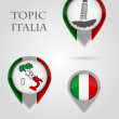 Topic ITALIA Map Marker — Stock Vector