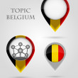 Topic Belgium Map Marker — Stock Vector