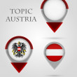 Topic austria Map Marker — Stock Vector