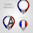Topic France Map Marker — Stock Vector