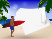 Walking on the beach surf — Vector de stock