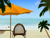 Umbrella and chair on the beach with wine — Stockvektor