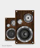 Wooden two way audio speaker, vector — Stock Vector