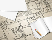 архитектурный фон. часть архитектурного проекта, архитектурного плана, технического проекта, рисование технического письма, архитектор на работе, планирование на бумаге, план строительства архитектуры — Cтоковый вектор