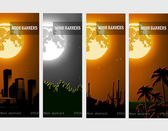 Banners of the night-moon over the forest with your text — 图库矢量图片