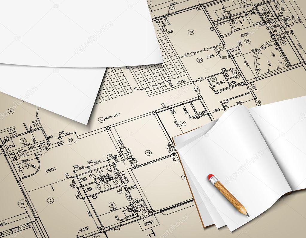 Architektonischen hintergrund teil architekturprojekt - Architektur plan ...