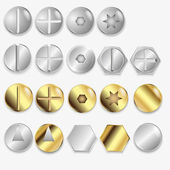 Bolts And Screws, Isolated On White Background, Vector Illustration — Stock Vector