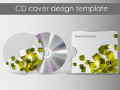 CD Cover Design with 3D Presentation Template | Everything is Organized in Layers Named Accordingly | To Change the Cover Design use the Cd and Cover Design Layers — Stockvektor