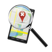 Smartphone with open maps — Stockvector