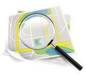 Karta och förstoringsglas — Stockvektor