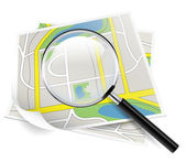 Map and magnifier — Vettoriale Stock