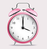 Pink alarm clock — Stock Vector