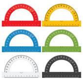 Protractor rulers — Stock Vector