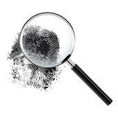 Fingerprint under a magnifier — Stock Vector