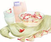 水疗中心 shamppo 头发面膜 — 图库照片