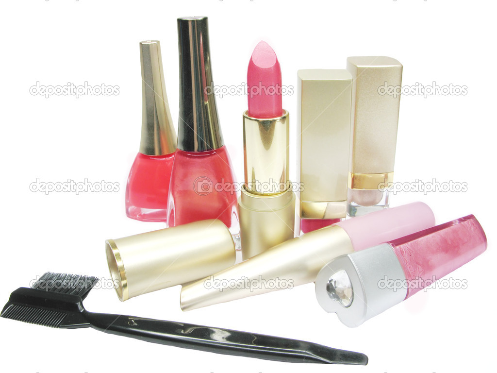 Pink lipstick creme eye-shadow nail polishers and lash brush lip gloss — Stock Photo #10796613
