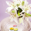 Spa candles flowers — Stock Photo