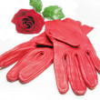 Red women gloves - Stock Photo