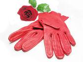 Red women gloves — Stock Photo