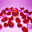 Spa candles red rose petals - 图库照片