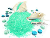 Spa bathing sea salt in shells — Stock Photo