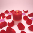 Spa candles red rose petals — Stock Photo