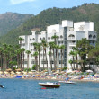 Luxury hotel with beach shore in marmaris turkey - Stock Photo