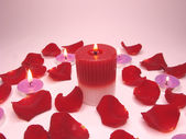 Spa candles red rose petals — Стоковое фото