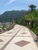 Beautiful quay among palms trees and mountains — Stock Photo