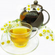 Herbal tea with daisy flowers - Stock Photo