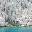Stock Photo: White cliff in aegean sea