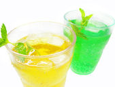 Green and yellow lemonade — Stock Photo