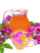 Punch cocktail tea drink with wild rose — ストック写真