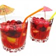 Fruit red punch cocktail drink with cherry — Stock Photo #11477752