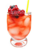 Fruit red punch cocktail drink with currant strawberry — Stock Photo