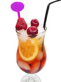 Fruit red punch cocktail drink with strawberry — Foto Stock
