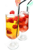 Fruit cold juice drinks with raspberry — Stock Photo