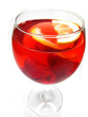 Alcohol red wine cocktail drink with raspberry — Stockfoto