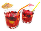 Fruit red punch cocktail drink with cherry — Stock Photo