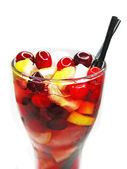Fruit cold juice drink with cherry — ストック写真